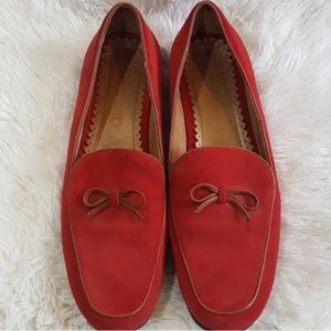 Lands End red suede loafers Size 8